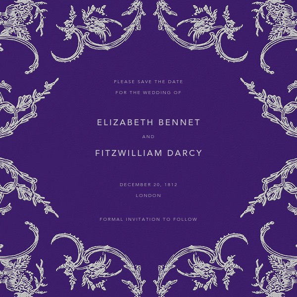 Silk Brocade II (Save The Date) - Amethyst - Oscar de la Renta - Party save the dates
