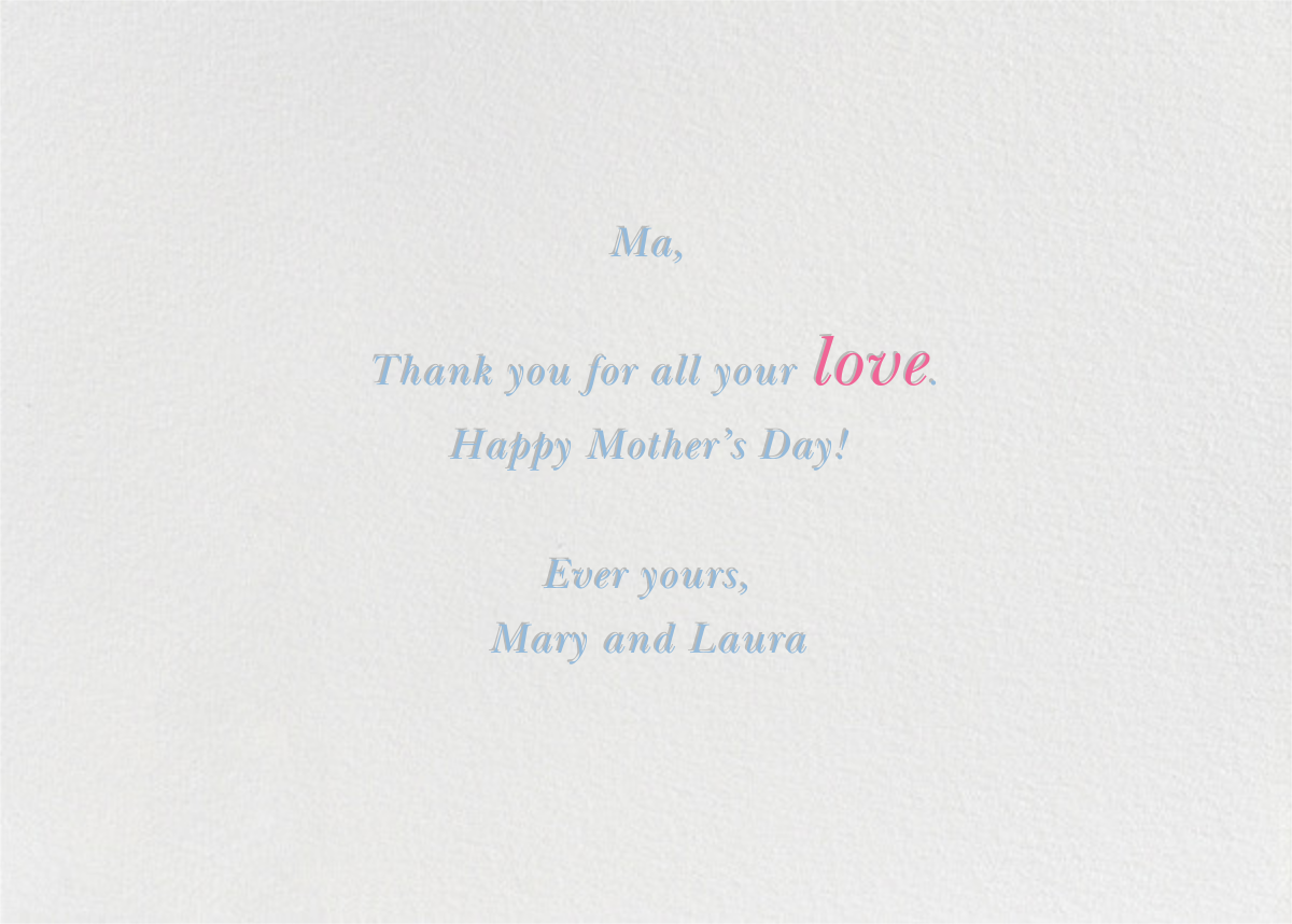 Beautiful and Fabulous  - Paperless Post - Mother's Day - card back