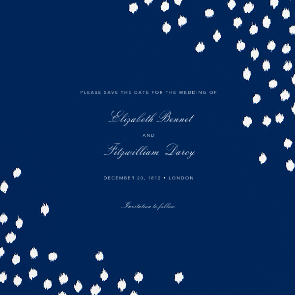 Ikat Dot (Save the Date) - Dark Blue - Oscar de la Renta - Party save the dates