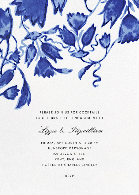 Watercolor Floral - Blue - Oscar de la Renta - Engagement party