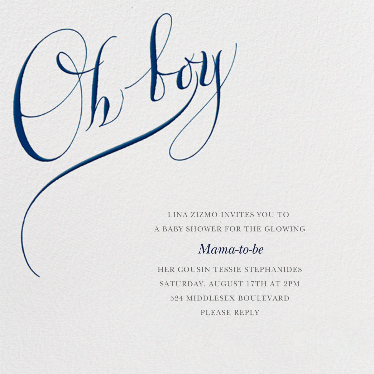Oh Boy - Bernard Maisner - Baby shower