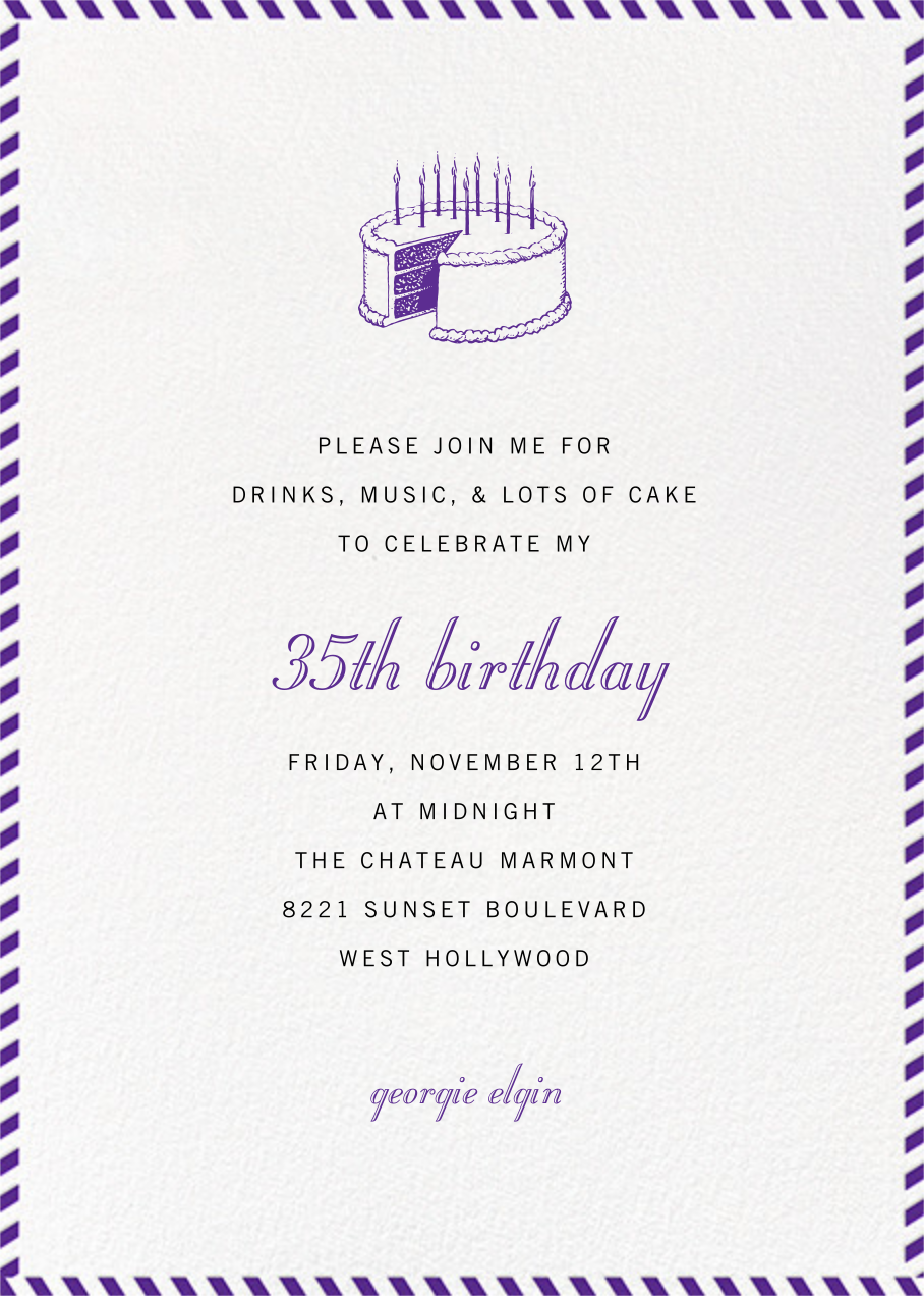 Stripe Border - Purple - Paperless Post - Adult birthday