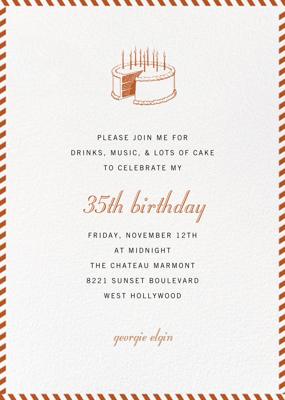 Stripe Border - Burnt Caramel - Paperless Post - Adult birthday