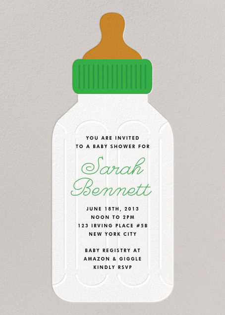 Baby Bottle - Green - The Indigo Bunting - Baby shower