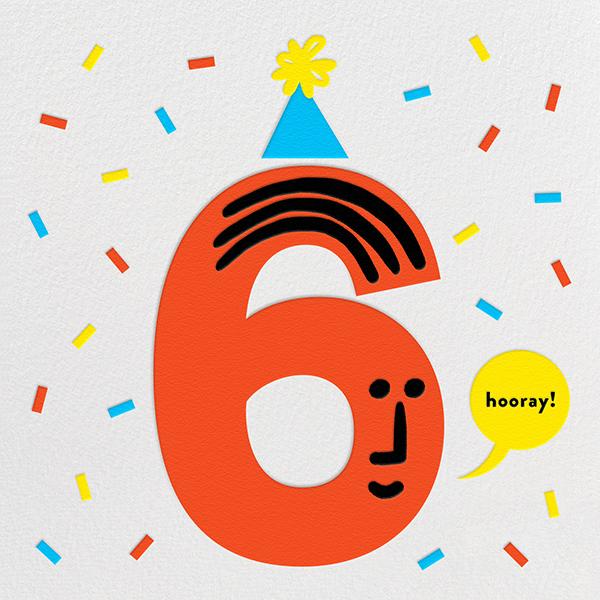 Birthday Faces (Six) - White - The Indigo Bunting - Kids' Birthday Invitations
