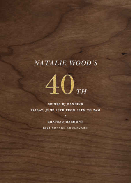 Wood Grain Dark - Tall - Paperless Post - Adult birthday