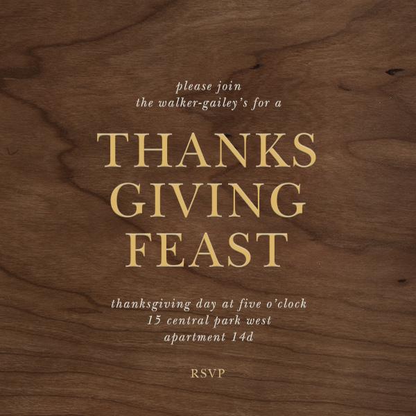Wood Grain Dark - Square - Paperless Post - Thanksgiving