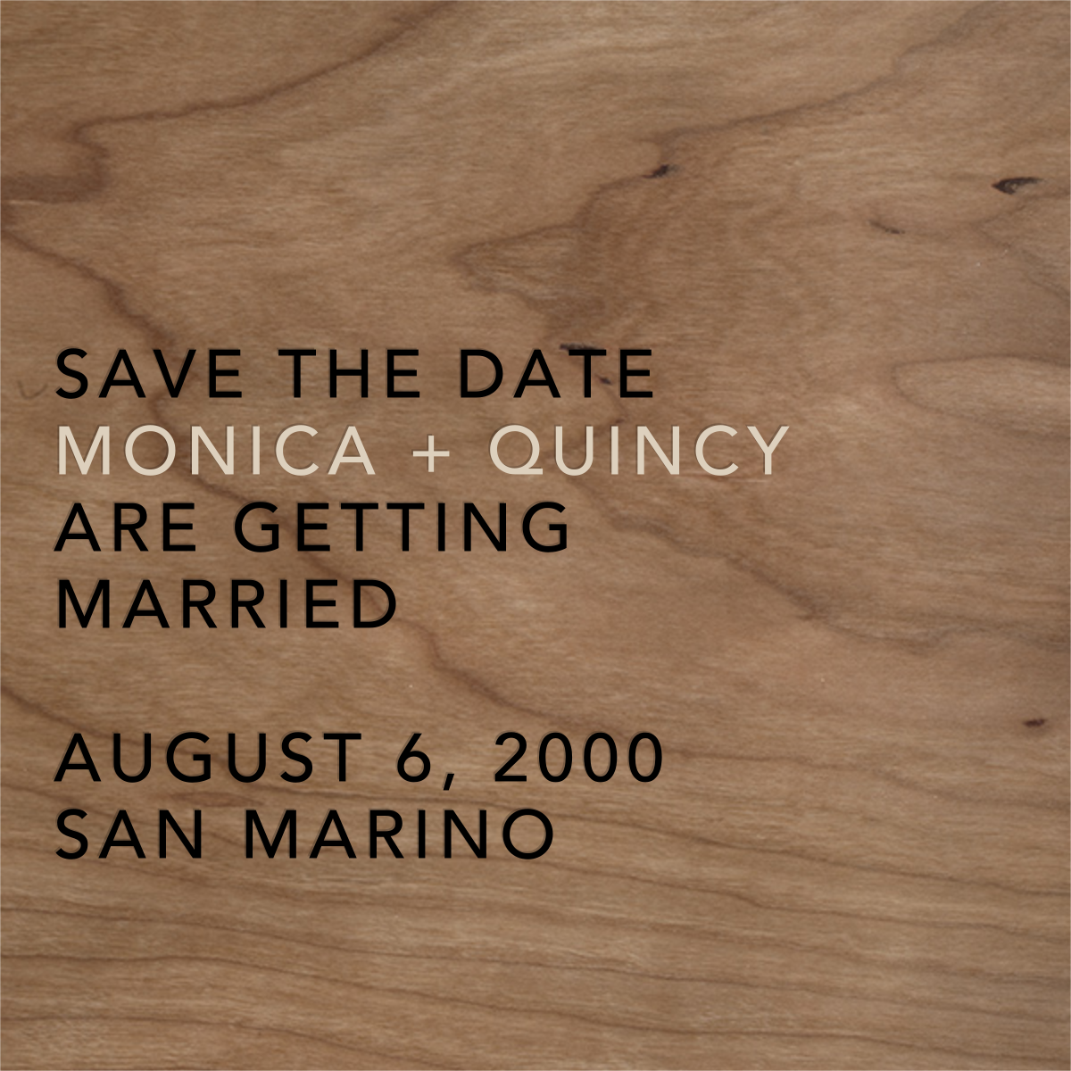 Wood Grain Light - Square - Paperless Post - Party save the dates