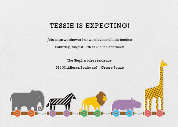 Animal Train - Paperless Post - Baby shower