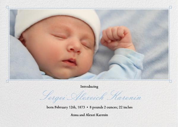 Squared Corner Frame - Light blue - Paperless Post - Birth