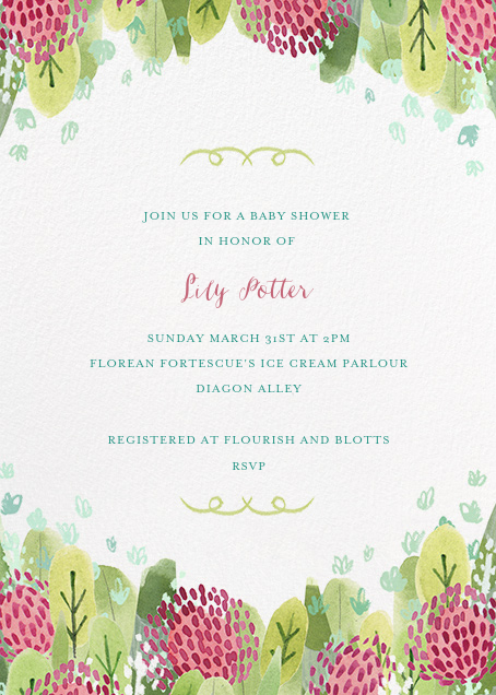 Floral Hedge - Paperless Post - Baby shower