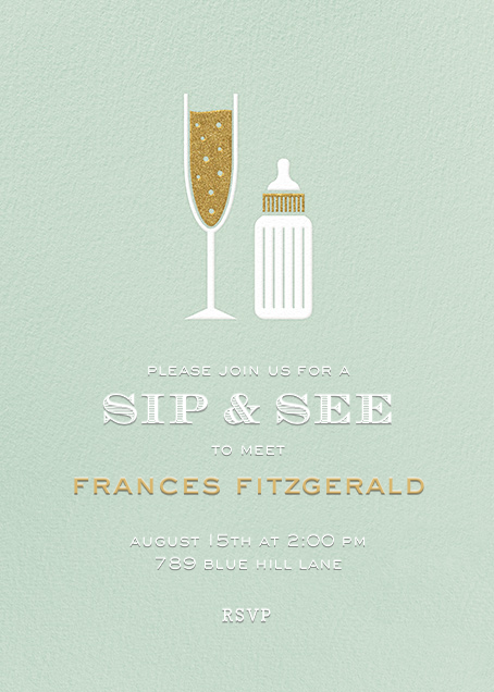 Sip & See - Mint - Paperless Post - Baby shower