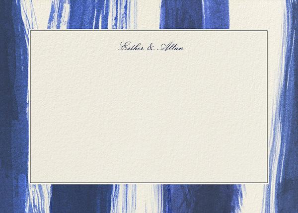 Watercolor Horizontal - Indigo - Oscar de la Renta - Personalized stationery