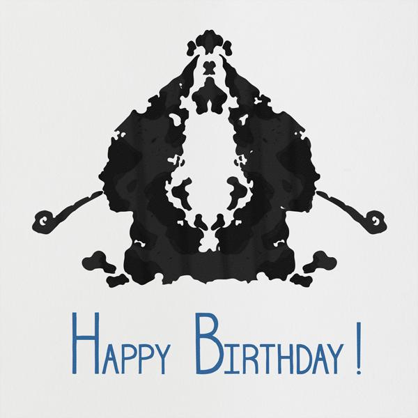 Rorschach Birthday Silhouette (Blue) - Paperless Post - Birthday