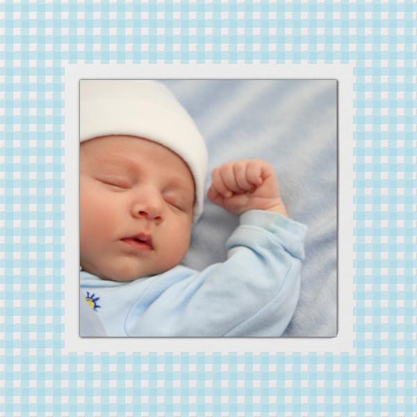 Gingham Photo - Blue - Paperless Post - Birth