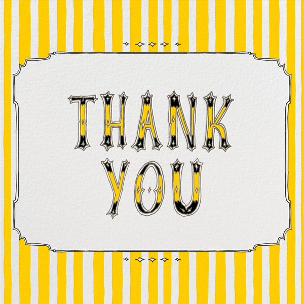 Cirque (Thanks) - Yellow - Paperless Post - Thank you