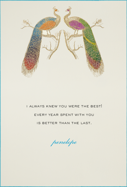 Hand Painted Peacock - Double Peacock - Bernard Maisner - Anniversary cards