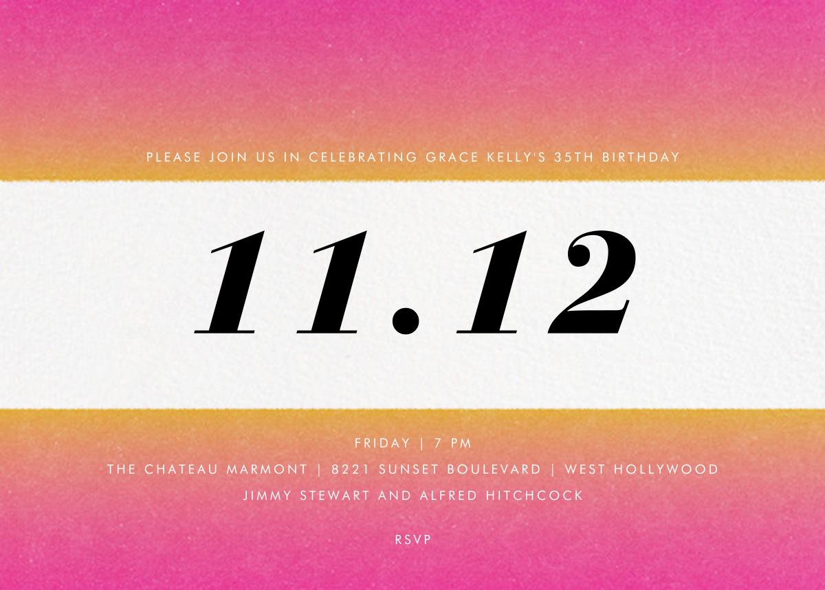 Gradient Bars - Pink - Paperless Post - Adult birthday