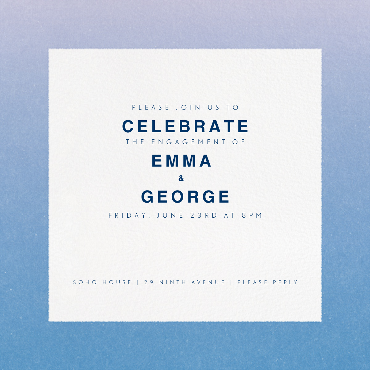 Gradient Border - Blue - Paperless Post - Engagement party