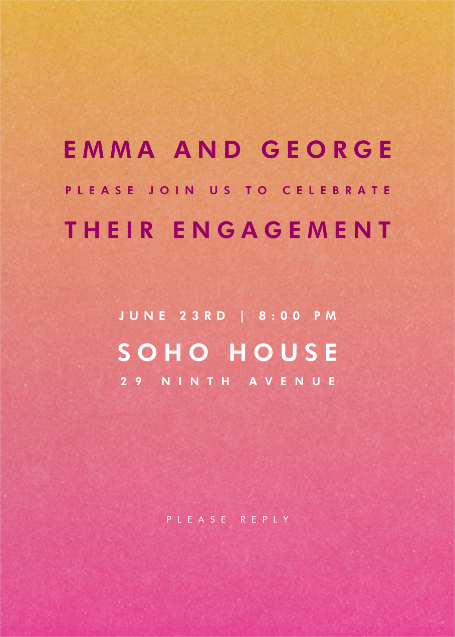 Gradient Full - Pink - Paperless Post - Engagement party