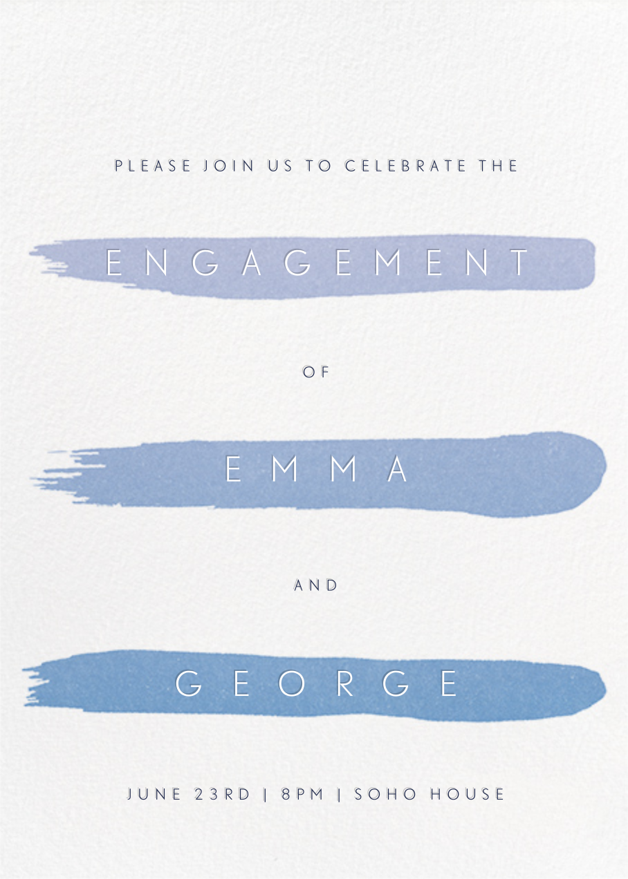 Gradient Brush Strokes - Blue - Paperless Post - Engagement party