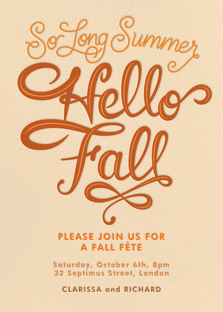 So Long Summer, Hello Fall - Paperless Post - Autumn Favorites