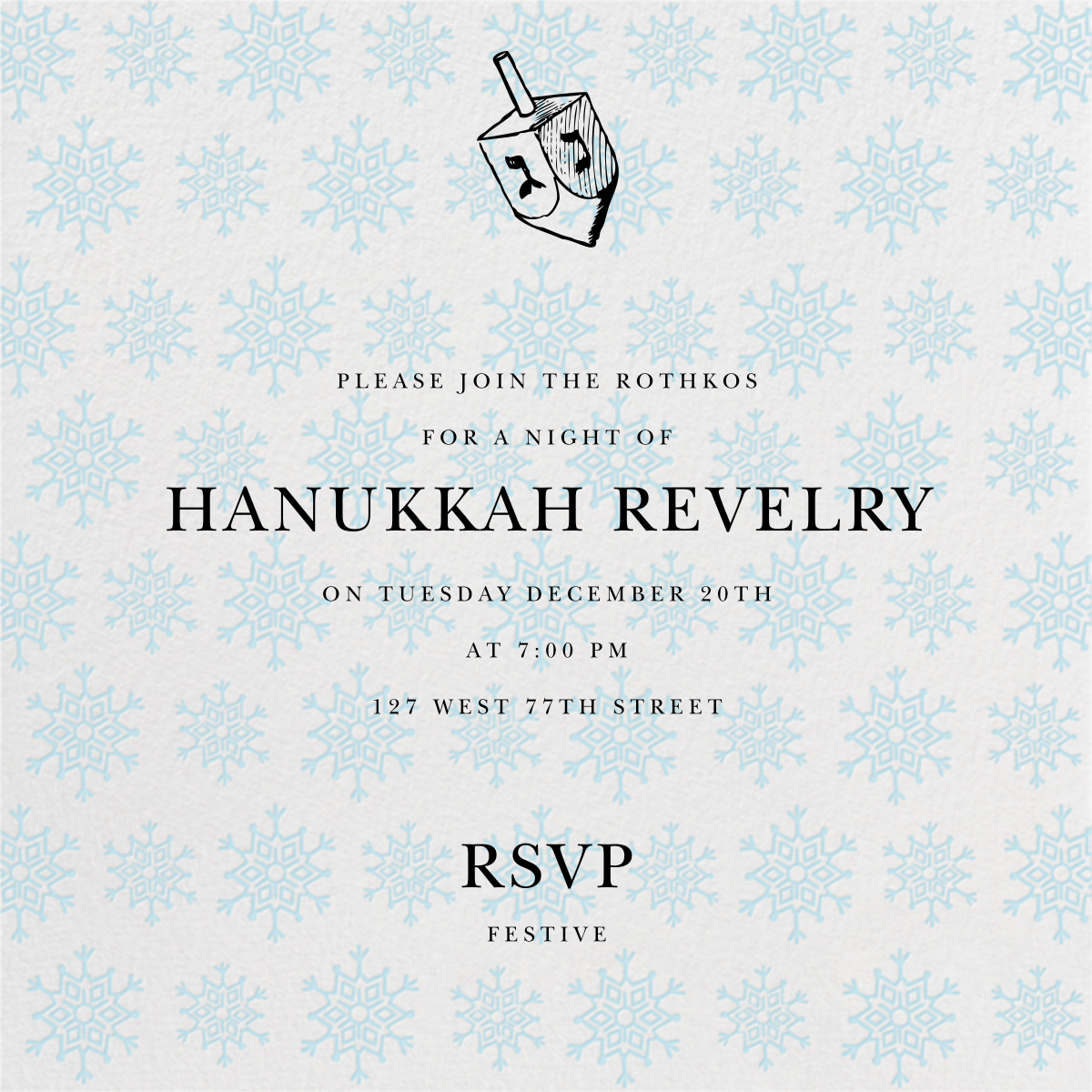 Snowflake Pattern - Ivory - Paperless Post - Hanukkah
