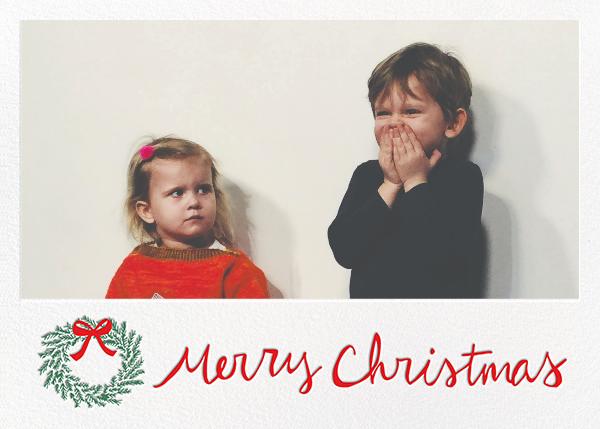 Merry Christmas Wreath (Horizontal) - White - Linda and Harriett - Christmas