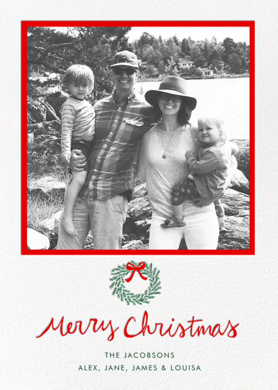 Merry Christmas Wreath (Tall) - White - Linda and Harriett - Christmas