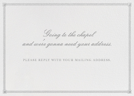 Going to the Chapel - Silver - Paperless Post - Address collection cards