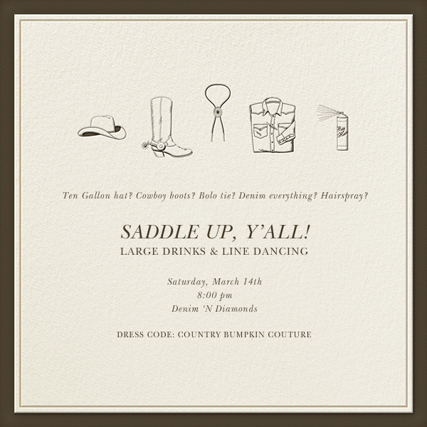 Country Bumpkin Couture - Derek Blasberg - Western party invitations