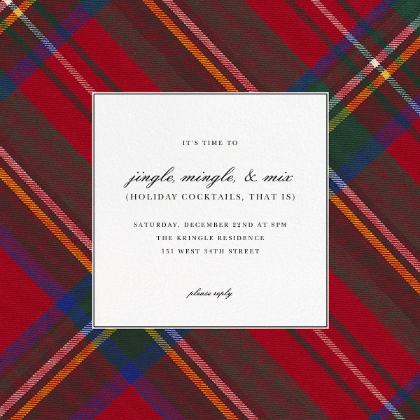 Tartan (Square) - Carnation - Oscar de la Renta - Winter entertaining