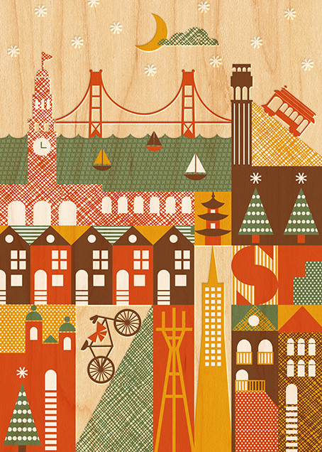 Starry San Francisco - Petit Collage - Holiday cards