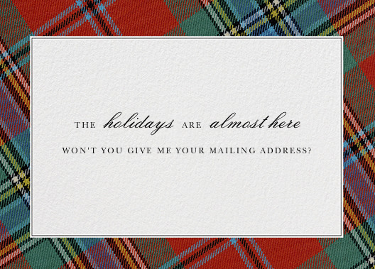 Tartan (Address) - Oscar de la Renta - Address collection cards