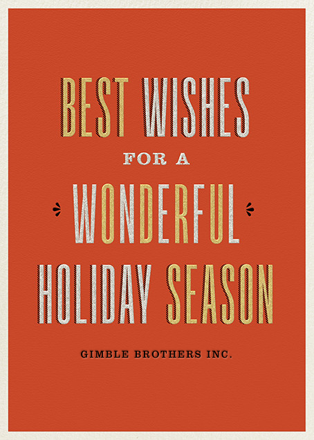 Wonderful Holiday - Metallics - Paperless Post - Company holiday cards