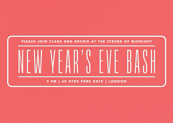 New Year's Eve Bash - Coral - Paperless Post - New Year's Eve
