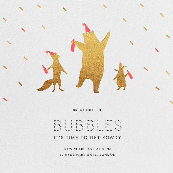 Party Animals - Gold Coral - Paperless Post - New Year's Eve