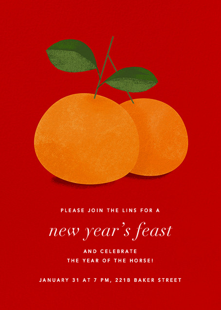 Lucky Clementines - Red - Paperless Post - Lunar New Year