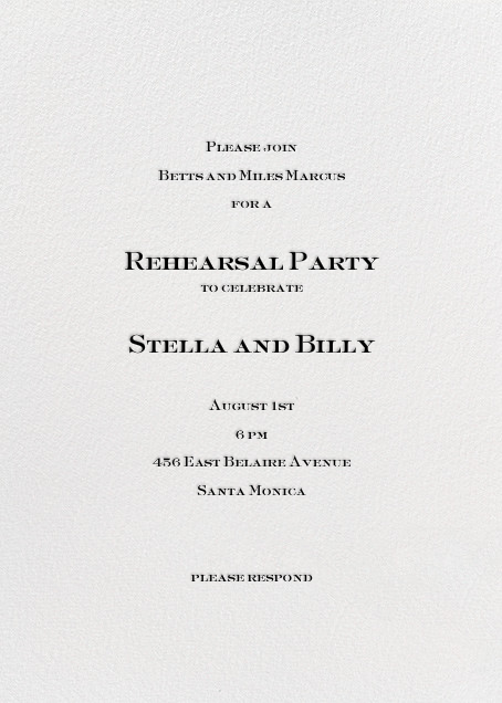 For Ever and Ever - Black - Mr. Boddington's Studio - Rehearsal dinner - card back