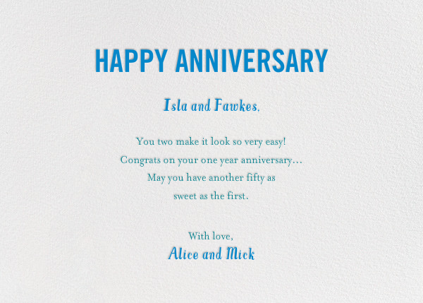 Birds Married Fifty Years - Blue - Mr. Boddington's Studio - Anniversary - card back