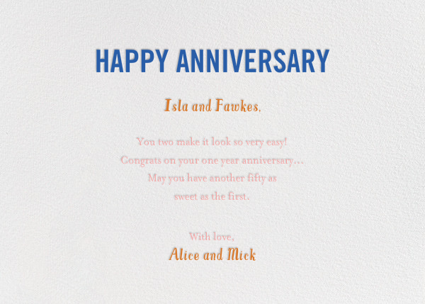 Birds Married Fifty Years - Pink - Mr. Boddington's Studio - Anniversary - card back