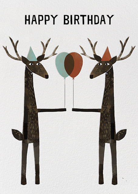 Party Deer (Jon Klassen) - Red Cap Cards - Birthday