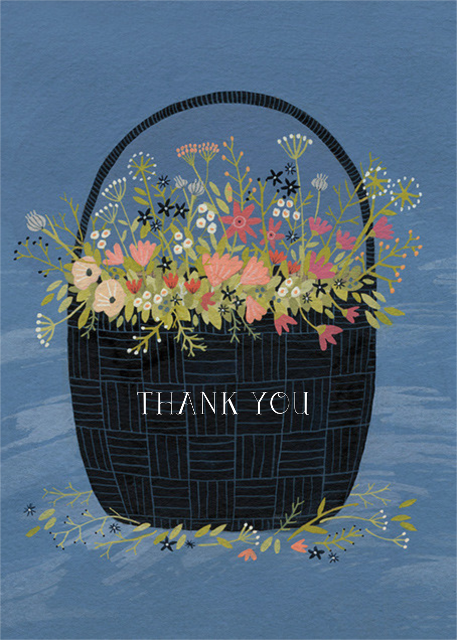 Flower Basket (Yelena Bryksenkova) - Red Cap Cards - Thank you