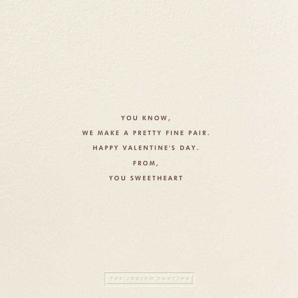 A Fine Pear - The Indigo Bunting - Valentine's Day - card back