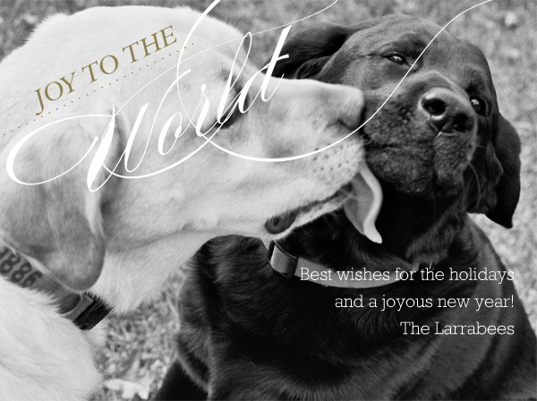 Joy to the World - White and Gold Horizontal - Paperless Post - null