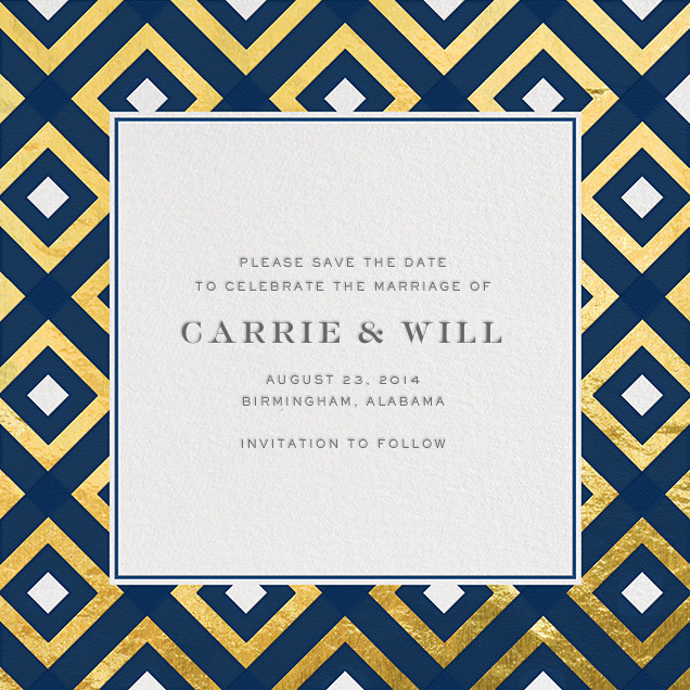 Bobo - Navy and Gold - Jonathan Adler - Party save the dates