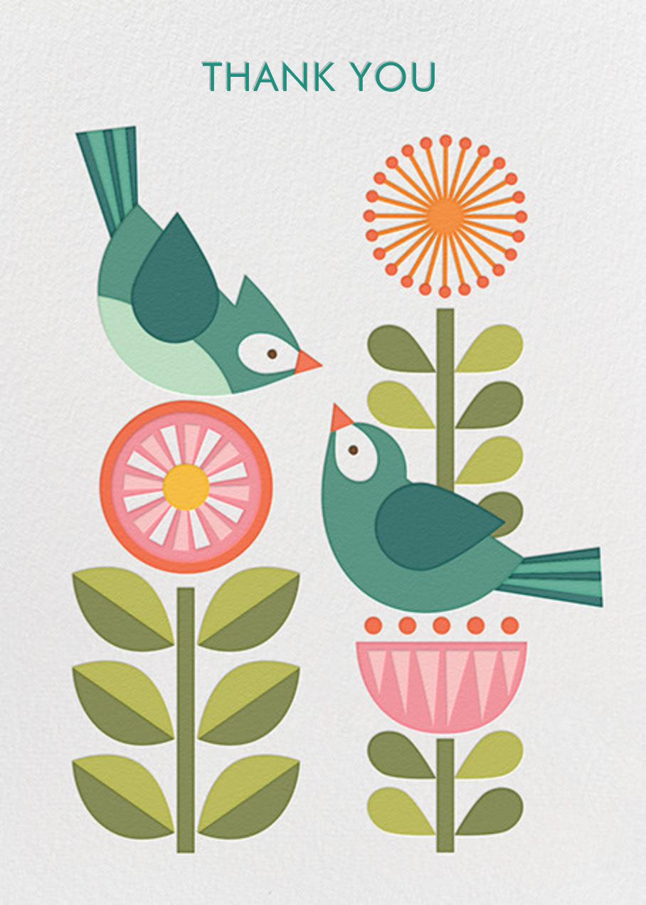 Blue Bird Pair - Petit Collage - Thank you