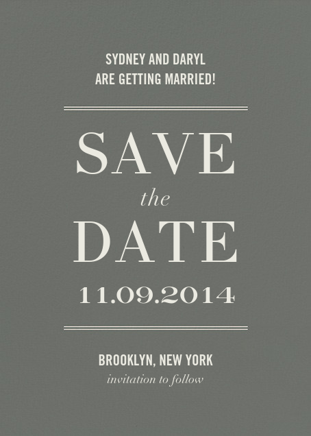 Typographic II (Save the Date) - Gray - kate spade new york - Party save the dates