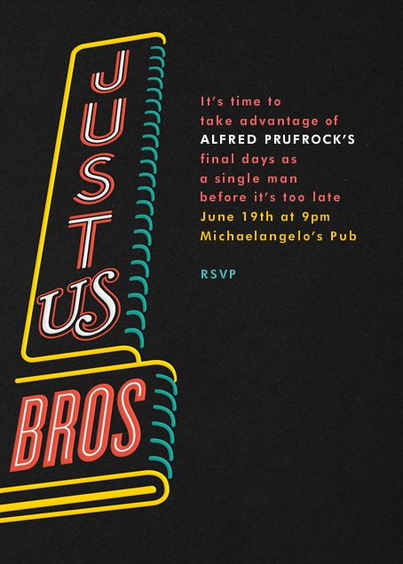 Just Us Bros - Paperless Post - Bachelor party