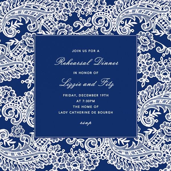 Filigree Lace (Square) - Navy - Oscar de la Renta - Rehearsal dinner